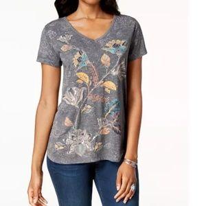 NWT Style & Co Printed V-Neck T-Shirt Shirt